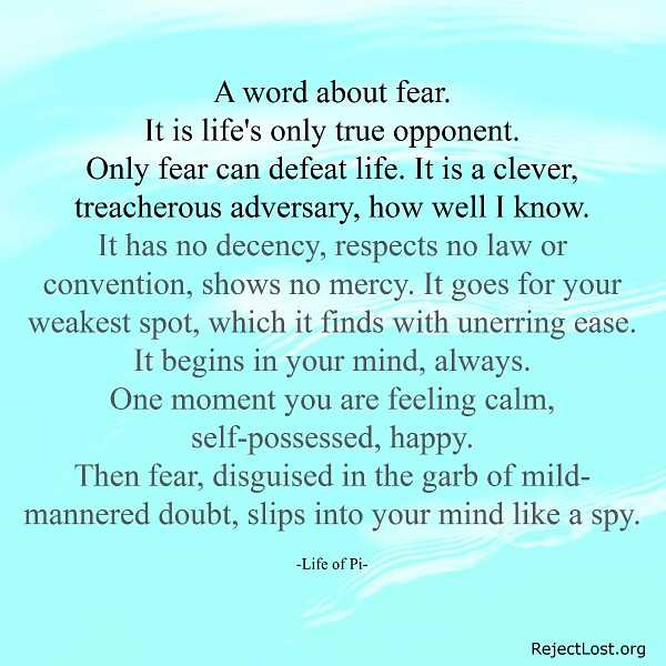 overing fear in our daily lives Browse through years of daily broadcasts and  that we should be delivered from living our whole lives in chronic and enslaving fear of the latest danger.